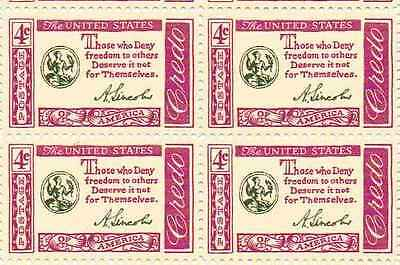 Abraham Lincoln Quotation Set of 4 x 4 Cent US Postage Stamps NEW
