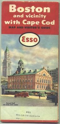1958 Esso Boston/Cape Cod Vintage Road Map /Faneuil Hall on cover