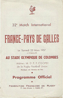 FRANCE v WALES 23 Mar 1957 at Paris RUGBY PROGRAMME - VERY GOOD CONDITION