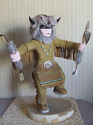 """""""Comanchie Warrior"""" Navajo Handmade Katchina in Leather Suit American Indian New"""