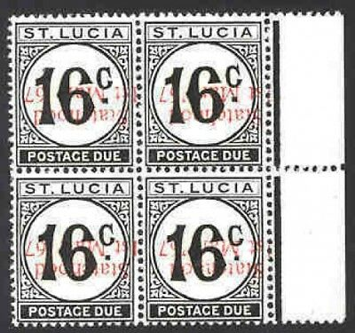 St. Lucia 1967 Postage Due block/ovpt. INVERTED