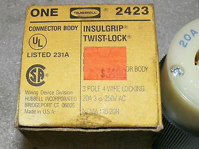 hubbell straight body 3 pole 4 wire 20 amp 250v ac no. 2423  new old stock plug