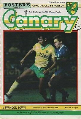 NORWICH CITY v SWINDON TOWN 1988, 13 January FOOTBALL PROGRAMME FA CUP