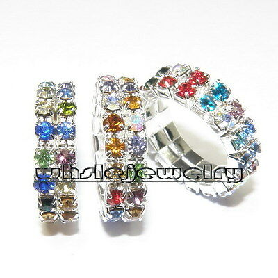 Wholesale 12pcs 2Rows Colourful Austria Crystal Rhinestone Elastic Jewelry Rings
