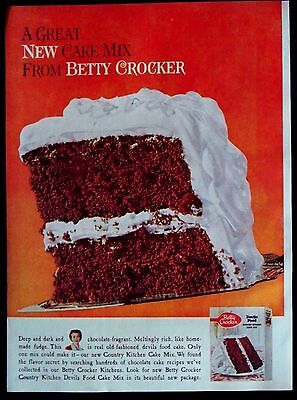 Vintage 1960 Betty Crocker Devil's Food Country Kitchen Cake Mix Magazine Ad
