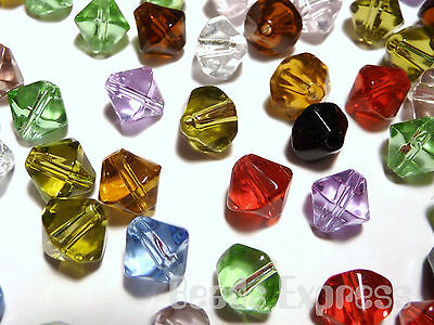 200pc Crystal Glass Value Bulk Bicone Beads - Mix Assorted Colours 4mm (BB4001)