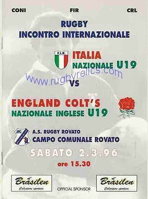 ITALY v ENGLAND YOUTH/COLTS UNDER 19 1996 RUGBY PROGRAMME