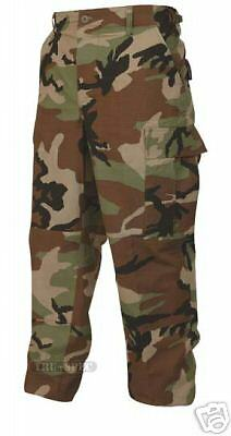 Woodland Camo BDU Uniform Pant - LARGE LONG -  Cotton Rip Stop - TRU-SPEC
