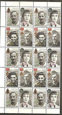 1995 Australia Remembers Military Medals ANZAC VC Weary Dunlop etc Block 20 MNH