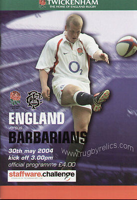 ENGLAND v BARBARIANS 2004 RUGBY PROGRAMME 30 MAY - TWICKENHAM