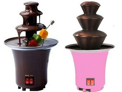 New Mini Electric Chocolate Fountain Party Celebration Hot Melted Brown / Pink