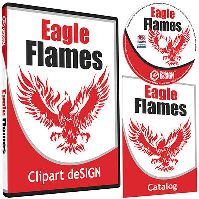 Eagle Flames Clipart -Vinyl Cutter Plotter Clip Art Images-Vector Cd