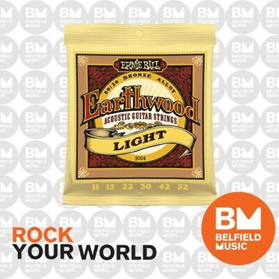 10 x Ernie Ball 2004 Earthwood Acoustic Guitar Strings Light 11-52 80/20 Bronze