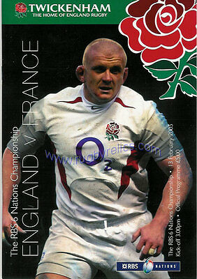 ENGLAND v FRANCE 2005 RUGBY PROGRAMME 13 FEBRUARY - TWICKENHAM