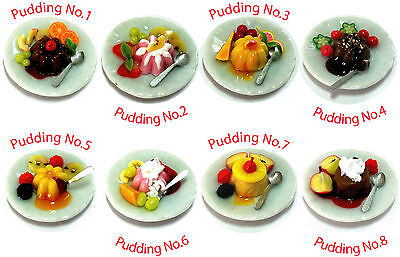 Dollhouse Miniature Bakery Sweet Fruit Pudding, Handmade, select from 8 designs