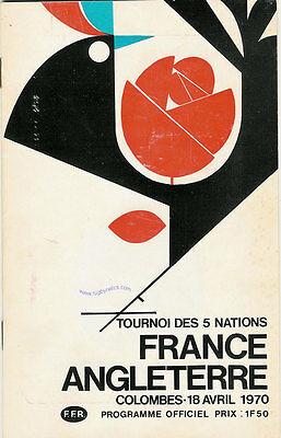 FRANCE v ENGLAND 18 April 1970 RUGBY PROGRAMME at PARIS