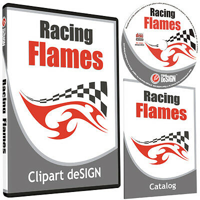 Racing Flames Clipart-Vinyl Cutter Plotter Images-Eps Vector Clip Art Cd