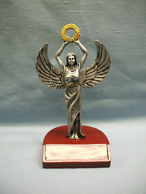 female Victory resin trophy award  pageant holding a wreath