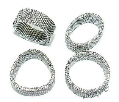 Wholesale Lots 36pcs Silver Mesh Rings Stainless Steel Flexible Wire Woven
