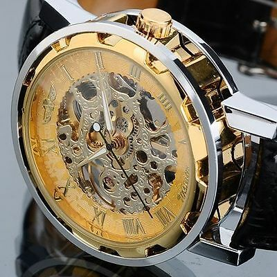 Mens Skeleton Transparent Mechanical Stainless Steel Leather Sport Wrist Watch