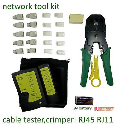Network Tool Kit Cable USB Tester Crimper+Modular Plug RJ45 RJ11 LAN Phone Data