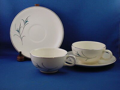 Salem China USA SIMPLICITY TURQUOISE Stylized Floral 2 CUPS & SAUCERS