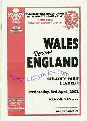 WALES v ENGLAND SCHOOLS UNDER 16 & A INTERNATIONAL 2002 RUGBY PROGRAMME