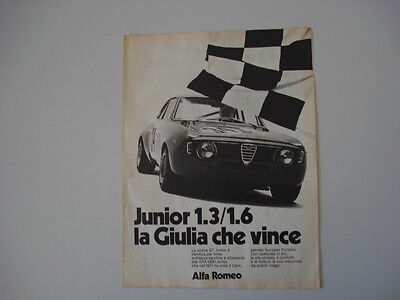 advertising Pubblicità 1972 ALFA ROMEO GIULIA GT GTA JUNIOR 1.3/ 1.6