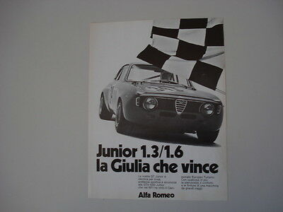 advertising Pubblicità 1972 ALFA ROMEO GIULIA GT GTA JUNIOR 1.3/1.6