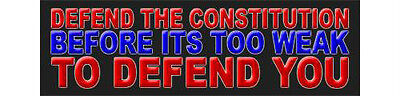 Defend the Constitution Before It Is Too Weak Political Bumper Sticker Decal 696