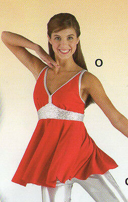 NWT Red Silver Sequin Top double camisole strap Lyrical Flag Drill Child large