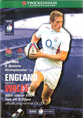 ENGLAND v WALES 2004 RUGBY PROGRAMME 20 MARCH - TWICKENHAM