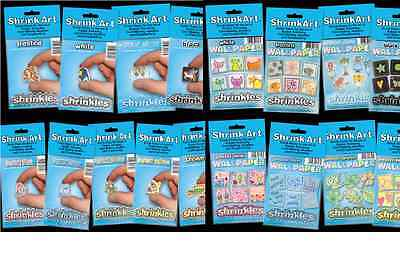 Shrinkles Shrinkie Shrink Plastic Craft Plain & Patterned Jewellery Pick Colour