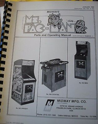 Original Midway Ms. Pac Man Arcade Parts & Operating Manual w/ Wiring Diagrams