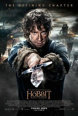 """HOBBIT BATTLE OF THE FIVE ARMIES 2014 Original DS 2 Sided 27x40"""" Movie Poster"""