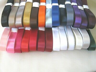 15mm / 16mm DOUBLE FACED SATIN RIBBON   5 or 10m  various colours