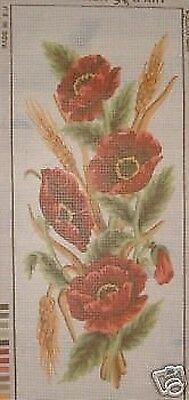 Poppies and Wheat Flower Panel Tapestry Canvas Collection D'Art