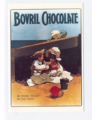 ad65 - Bovril chocolate - advert - children on beach - art postcard