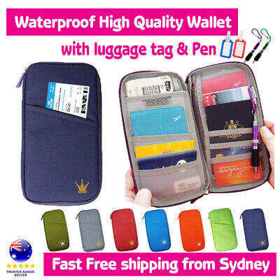 TRAVEL WALLET PASSPORT HOLDER DOCUMENT ORGANIZER BAG luggage tag/key ring pen