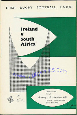 IRELAND v SOUTH AFRICA 1960 RUGBY PROGRAMME