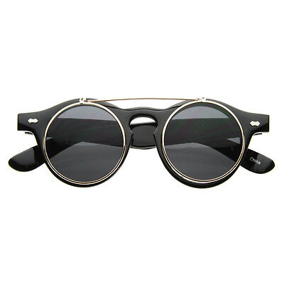 New Vintage Retro Steampunk Costume Round Circle Flip Up Clear Lens Glasses 2950