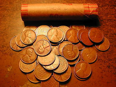 1940-S LINCOLN WHEAT CENT PENNY ROLL, nice condition