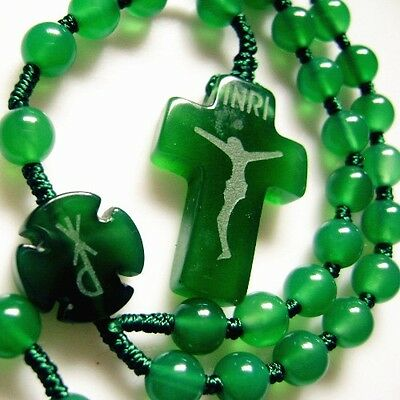 Natural Green Agate Bead CROSS ROSARY BEADS CRUCIFIX CATHOLIC NECKLACE