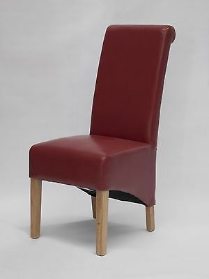 Kensington solid oak furniture set of eight red leather dining chairs