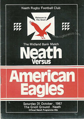 USA 1987 RUGBY TOUR PROGRAMME v NEATH 31st October, Neath