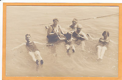 Real Photo Postcard RPPC - People Swimming in Salt Lake