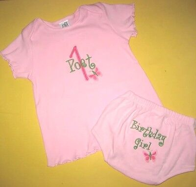 Personalized BIRTHDAY or NAME BUTTERFLY T Shirt DRESS & DIAPER COVER Outfit Set