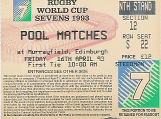 Rugby World Cup Sevens Rugby Ticket 1993 Scotland