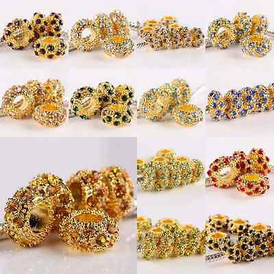 Crystal Rhinestone Golden 6X11mm Big Hole Spacer Beads Findings Fit EP Bracelet
