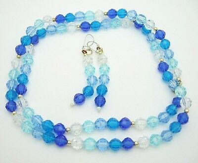 SHADES OF BLUE and Clear BEADS NECKLACE and PIERCED EARRINGS  Vintage